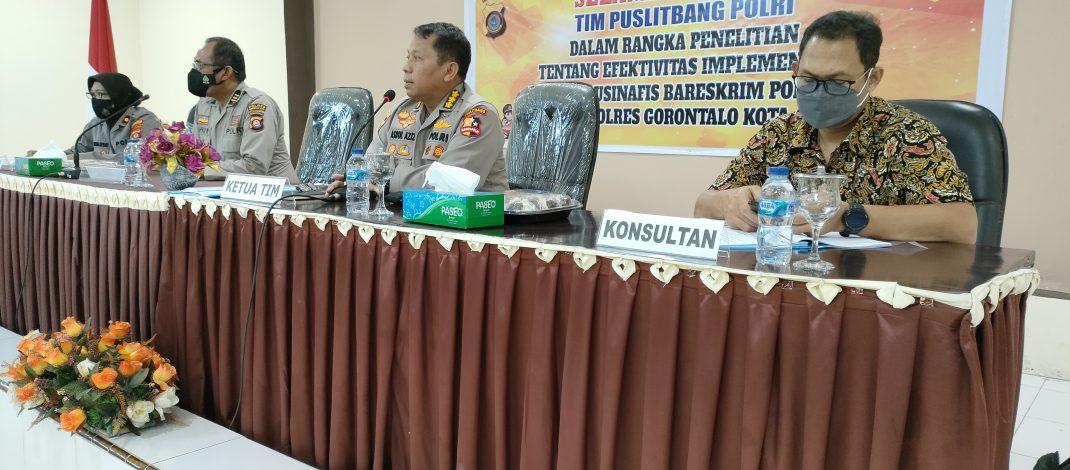 Tim Puslitbang Polri Laksanakan Litbang di Polres Gorontalo Kota